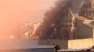 Incendio dell'arcidiocesi siro-cattolica di Mossul appiccato dai terroristi dell'ISIS.
